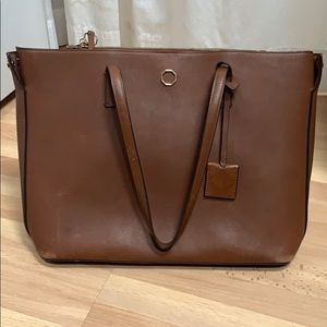 Louise et Cie brown leather tote shoulder bag